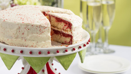 Patti LaBelle's Red Velvet Marble Cake with Boiled Frosting recipe