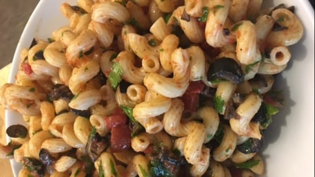 Dylan's mom's pasta salad with olives