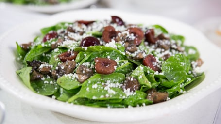 Spinach Salad with Bourbon Glazed Mushrooms