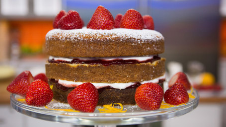 Orange Blossom Strawberry Cake