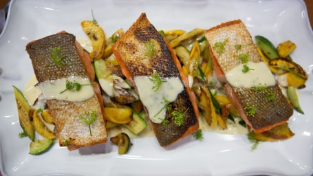 Roxanne Spruance's salmon with zucchini and summer squash with a dill cream sauce.