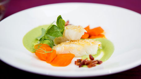 "Daniel Boulud's Rice Flake Crusted Fish ""Goujonettes"" with English Pea Sauce and California Carrots"