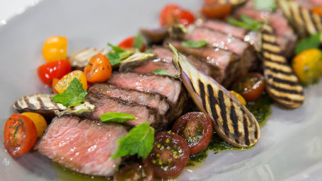 Garrison Price' New York Strip Steak + Grilled Baby Eggplant & Salsa Verde, Rose Spritz