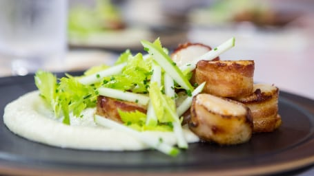 Al Roker's Bacon-Wrapped Scallops with Celery Root Potato Puree