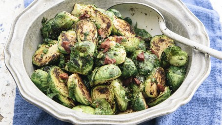 Curtis Stone's Brussels Sprouts with Chorizo