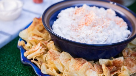 Alex Guarnaschelli's Classic Crab Dip with Spicy Potato Chips