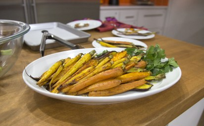 Roasted exotic tri-color carrots