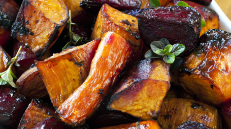 Root vegetables roasted with balsamic