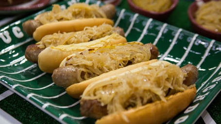 Matt Abdoo's Bratwursts with Beer Mustard and Sauerkraut
