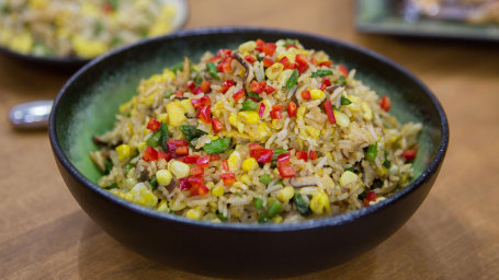 Ching-He Huang's Three-Cup Chicken + Eggs, Asparagus, Corn and Shiitake Mushroom Fried Rice