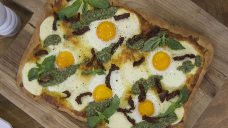 Egg Breakfast Pizza with Walnut Pesto