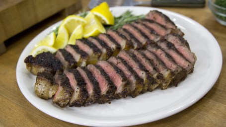 Ryan Scott's Peppercorn-Crusted NY Strip Steak, Twice-Baked Stuffed Potatoes, Triple Coconut White Chocolate Cream Pie