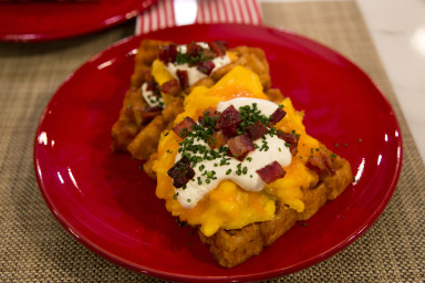 Tator tot waffles with scrambled eggs