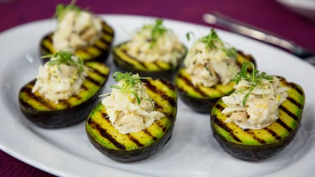 Mark Jeffers' Grilled Avocado Stuffed with Crab + Grilled Salmon Burger