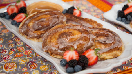 Chloe Coscarelli's Cinnamon Roll Pancakes + Banana Doughnuts with Maple Glaze