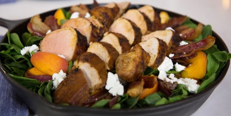 Chris Lilly's Cast-Iron Pork Tenderloin and Spinach Salad with Pickled Peaches