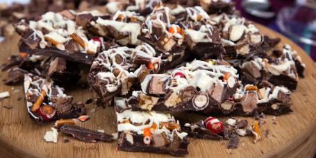 Gaby Dalkin's Halloween Candy Bark + Triple Layer Pumpkin Chocolate Chip Cake with Halloween Candy