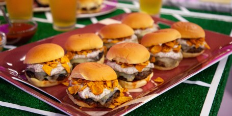 Jason Santos' Smashed Meatloaf Sliders, Buffalo Cauliflower + Jyll Everman's Beer Brat Reuben Sliders, Beer Brat Pigs in a Blanket with Beer Cheese Dipping Sauce