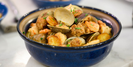 Scott Conant's Stewed Clams and Shrimp + Shrimp and Clam Pasta + Seafood Frittata