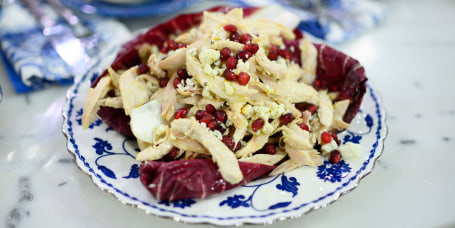 Clodagh McKenna's Roast Chicken with Clementine and Rosemary Butter + Roast Chicken Salad with Blue Cheese, Radicchio and Pomegranates + Chicken and Chestnut Risotto