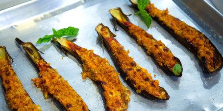 Giada De Laurentiis' Sheet-Pan Eggplant Parmesan + Crispy Orzo Salad