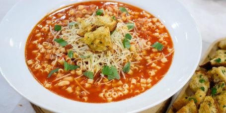 Justin Chapple's Pasta Fazool + Spicy Garlic Bread Bites