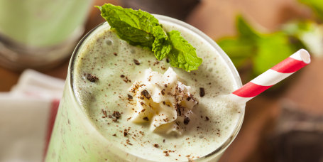 Cold Refreshing Mint Chocolate Chip MilkShake