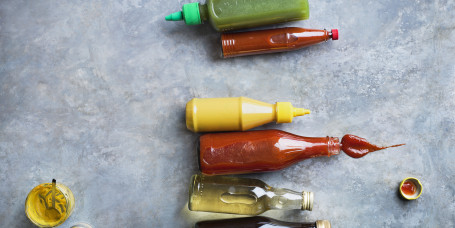 Condiments in bottles