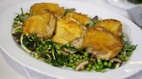 Michael Symon's Chicken Thighs with Ramps, Peas and Mushrooms + Spaghetti with Pea Pods and Lemons