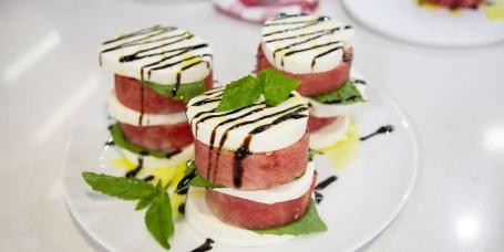 Nino Coniglio's Margarita Pizza + Watermelon Caprese Salad