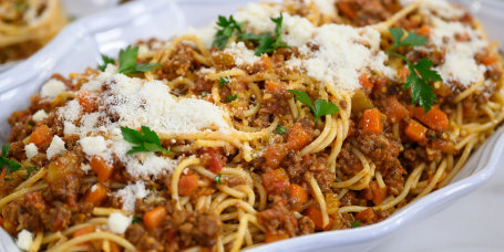 Alex Guarnaschelli's Spaghetti Bolognese + Spicy Sloppy Joes + Taco Salad