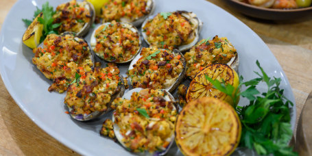 Adam Richman's Grilled Clams + Baked Clams + Bloody Mary Gazpacho