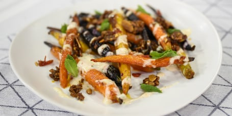 Brian Lewis King Salmon with Sunchoke + Harissa-Roasted Carrots + Salt-Roasted Cioggia Beets