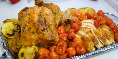 Alex Hitz's Perfect Roast Chicken and Tomatoes + Smashes Potatoes + White Chocolate-Pecan Cookies