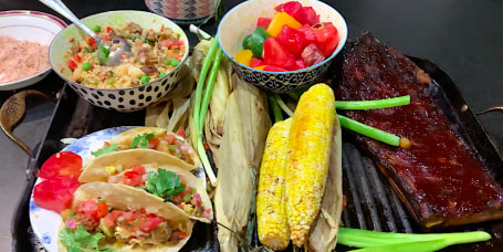 Barbecue Ribs with Tomato-Watermelon Salad and Grilled Corn