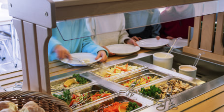 School lunch with salad buffet