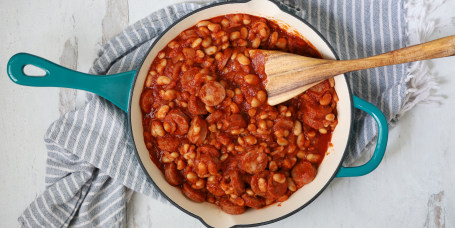 Joy Bauer's Skillet Franks and Beans