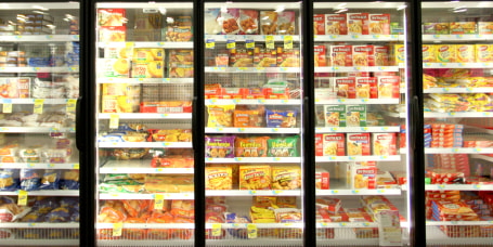 Frozen food department of grocery store.