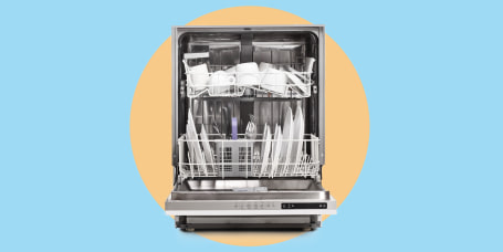 Studio shot of a loaded dishwasher