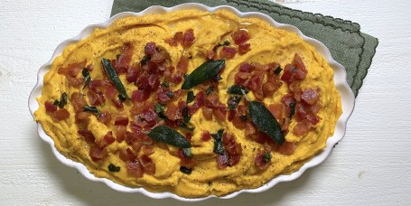 Pumpkin, Bacon and Crispy Sage Mashers