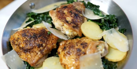 Chicken Dijon with Tuscan Kale, Yukon Potatoes and Parmesan