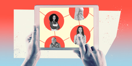 Illustration of hands holding an ipad with portraits of different people inside