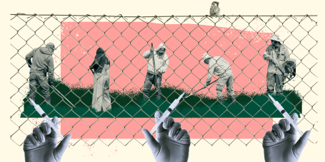 Illustration of workers working in a field behind a fence and a syringe