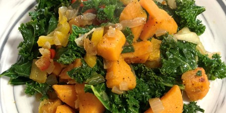 Tanya Holland's sweet potato-kale hash