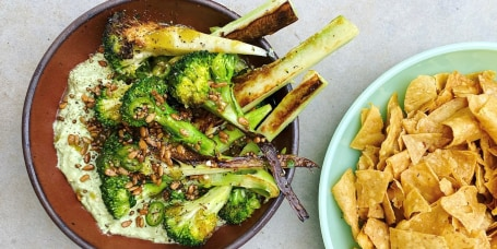 Charred Broccoli with Spicy Avocado Sauce