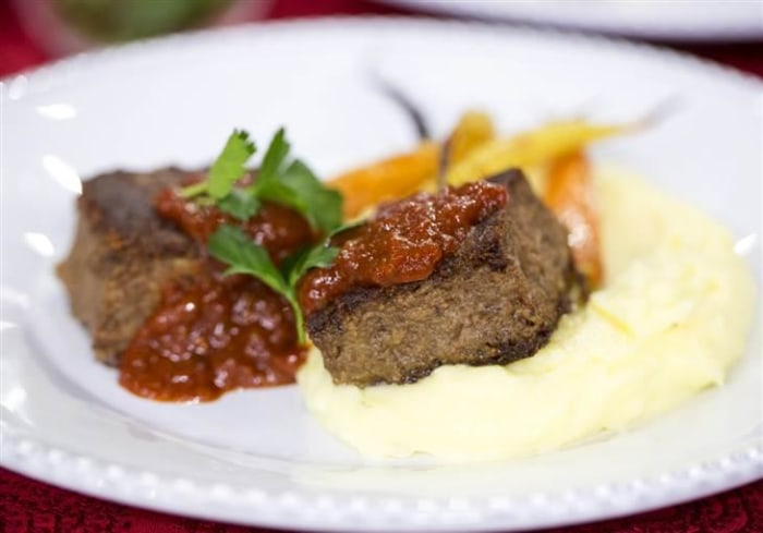 TODAY Show: Jeff IcInnis and Janine Booth cookshort rib meatloaf and mashed potatoes. -- February 11, 2015.