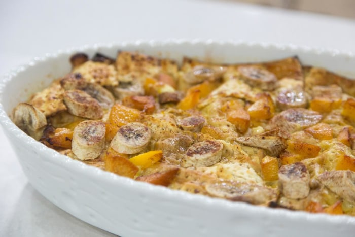 Banana and Peach Matzo Brie Bake