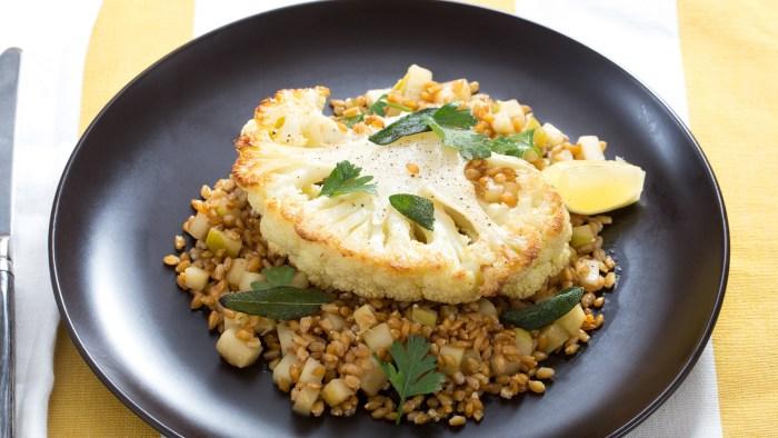 Cauliflower Steaks with Einkorn and Brown Butter recipe