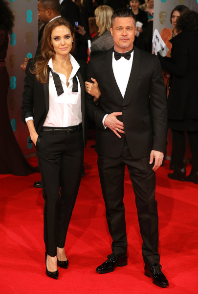 Actors Angelina Jolie and Brad Pitt attend the EE British Academy Film Awards
