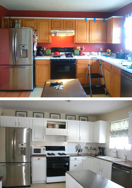 See what this kitchen looks like after an 800 diy for Cheap kitchen remodel ideas